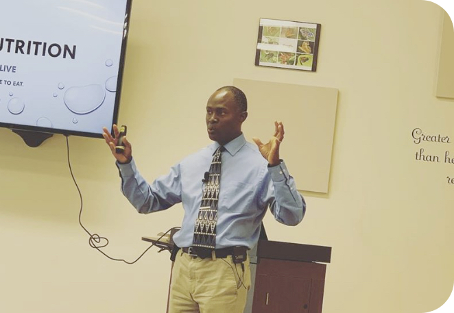 dr. fryer speaking on nutrition